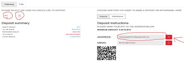 deposit btc to deex