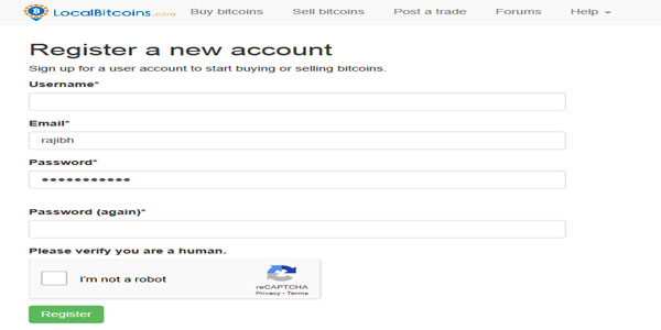 Account at localbitcoin
