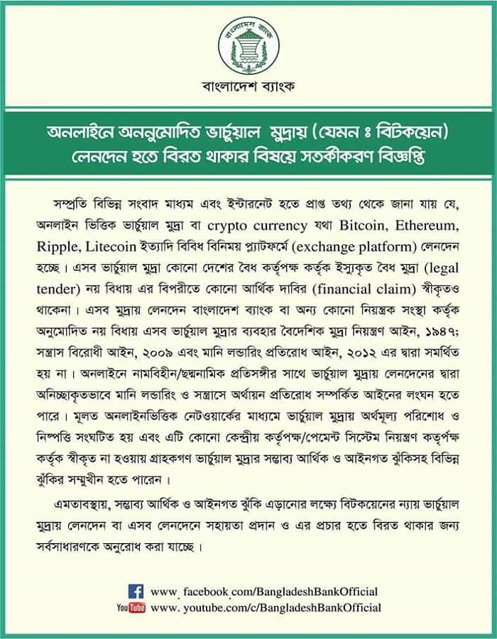 Bangladesh bank Bitcoin notice