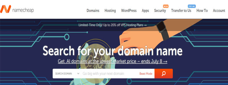 domain buy with BCH at Namecheap