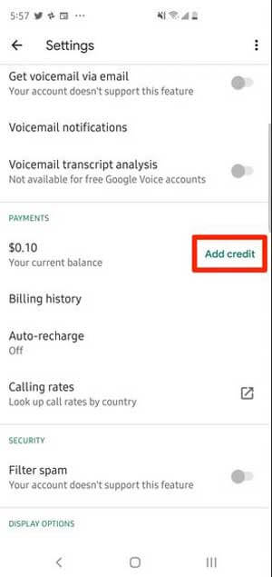 add credit to Google Voice using the Android app