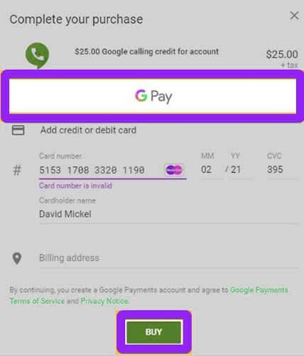 buy google voice credit